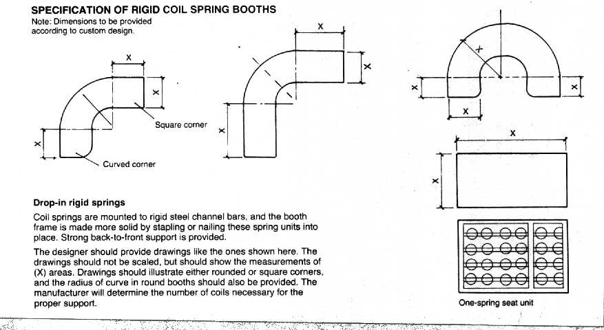restaurant booth dimensions section details and